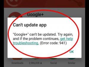 Google Play Store Error 941